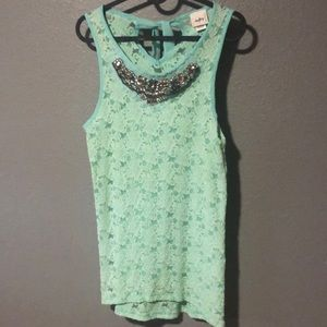 Day trip light teal jewel dress top
